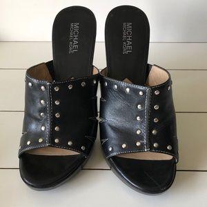 Michael Kors Black Leather Studded Heels
